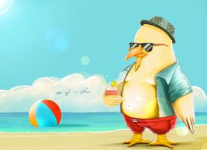 Pollo en playa